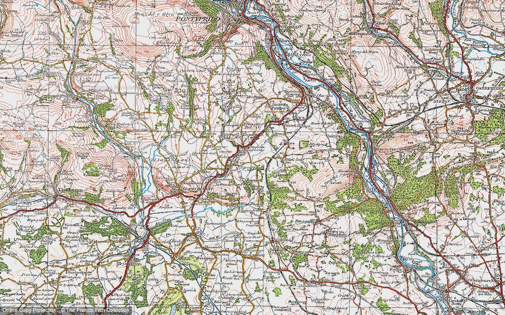 Old Map of Llantwit Fardre, 1922 in 1922