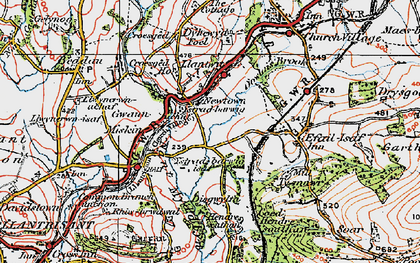 Old map of Llantwit Fardre in 1922