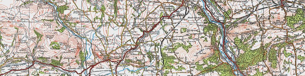 Old map of Llantwit Fardre in 1922