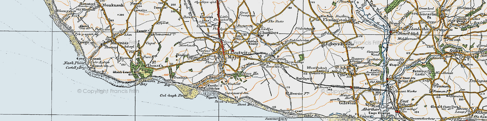 Old map of Llantwit Major in 1922