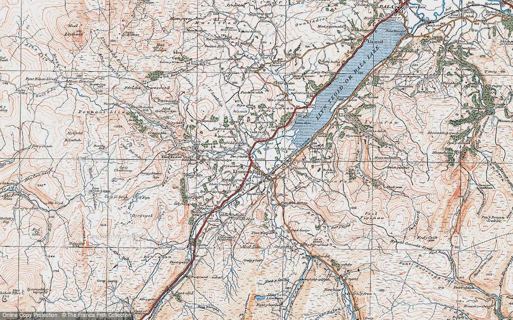 Old Map of Llanuwchllyn, 1921 in 1921
