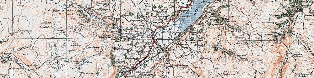 Old map of Llanuwchllyn in 1921