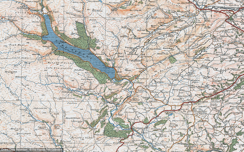 Old Map of Historic Map covering Afon y Dolau Gwynion in 1921