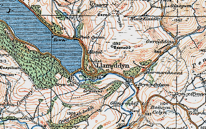 Old map of Llanwddyn in 1921