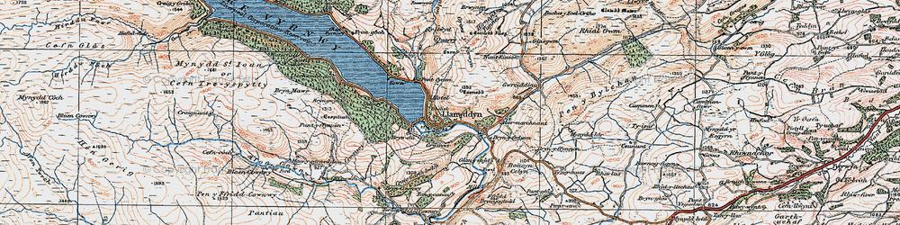 Old map of Afon y Dolau Gwynion in 1921