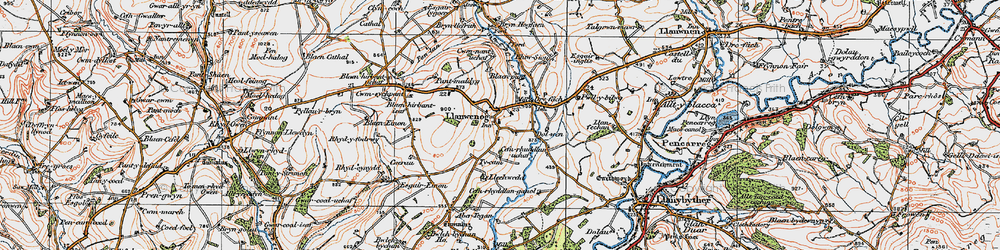 Old map of Abertegan in 1923