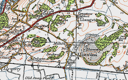 Old map of Llanwern in 1919