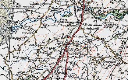 Old map of Llanwnda in 1922
