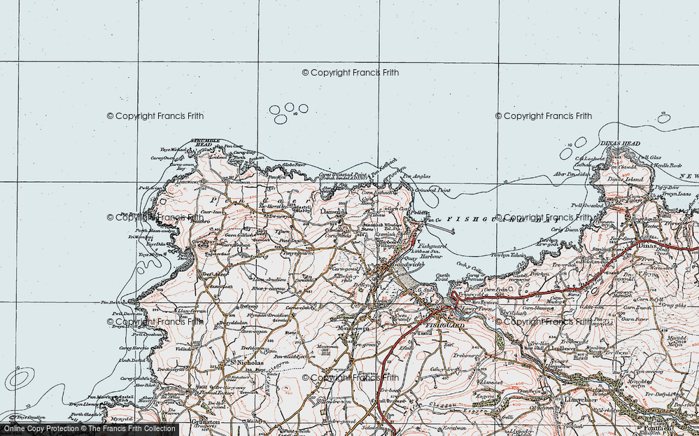 Old Map of Historic Map covering Y Globa Fawr in 1923