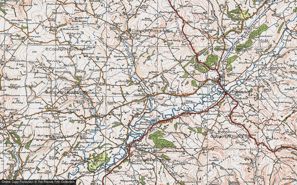 Old Map of Historic Map covering Afon Grannell in 1923