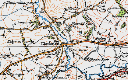 Old map of Afon Grannell in 1923