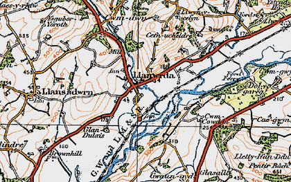 Old map of Llanwrda in 1923
