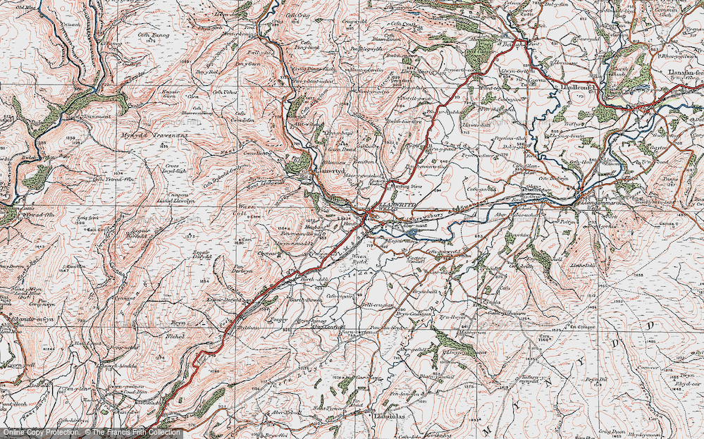 Old Map of Llanwrtyd Wells, 1923 in 1923