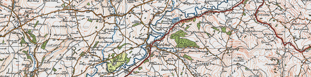 Old map of Allt Llwyn-crwn in 1923