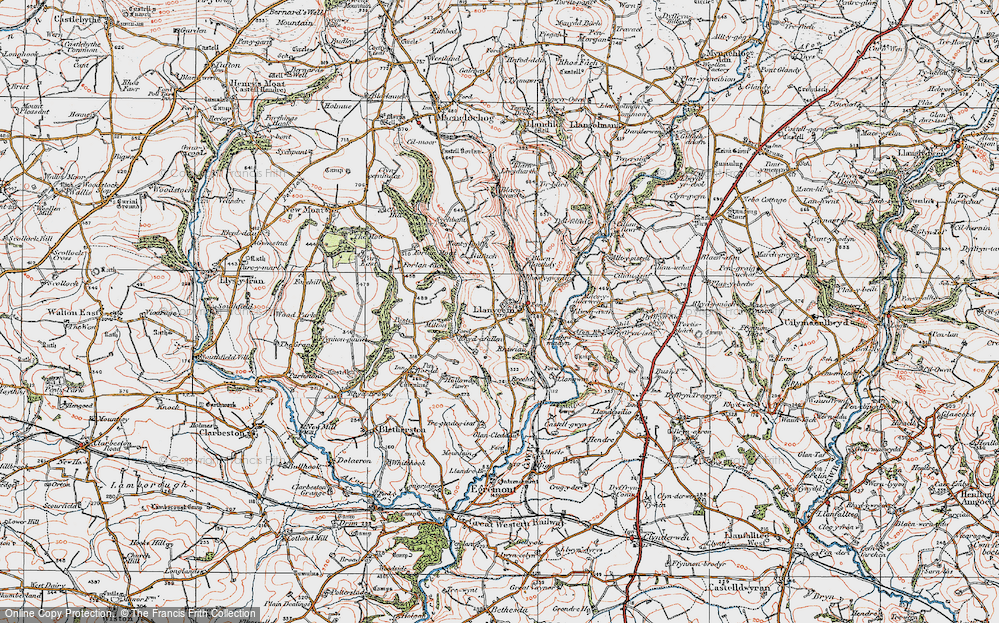Old Map of Historic Map covering Afon Rhyd-y-bil in 1922
