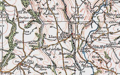 Old map of Afon Rhyd-y-bil in 1922