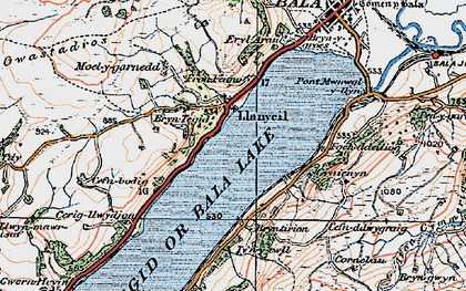 Old map of Llanycil in 1922