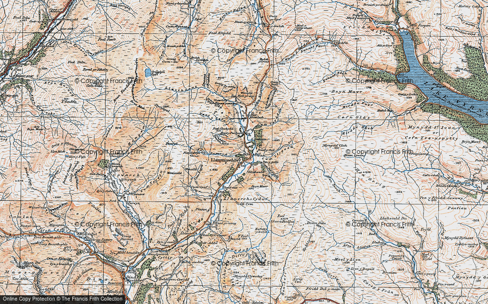 Old Map of Historic Map covering Afon Pumryd in 1921