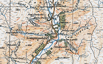 Old map of Afon Rhiwlech in 1921