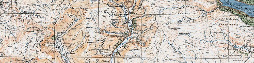 Old map of Llanymawddwy in 1921