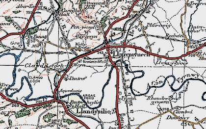 Old map of Llanymynech in 1921