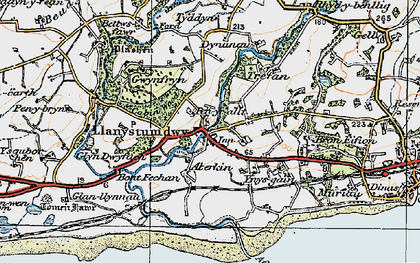 Old map of Llanystumdwy in 1922