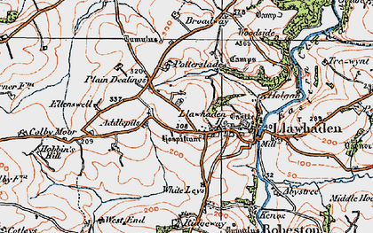 Old map of Llawhaden in 1922
