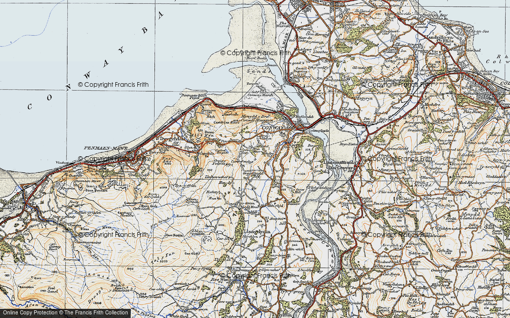 Old Map of Historic Map covering Afon Gyffin in 1922