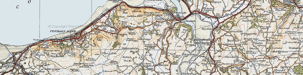 Old map of Afon Gyffin in 1922