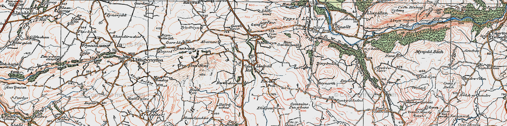 Old map of Lledrod in 1922