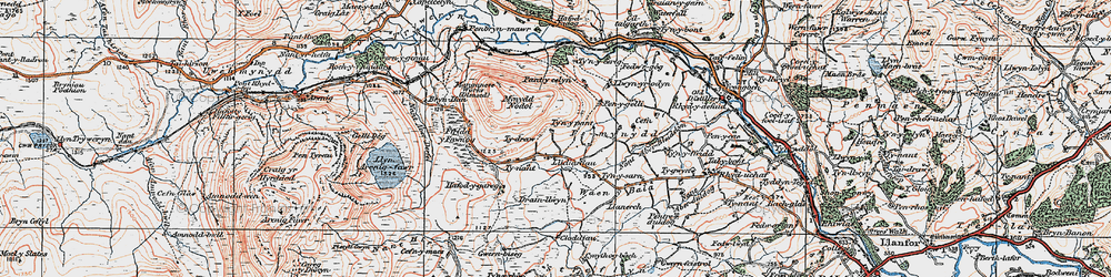 Old map of Y Castell in 1922