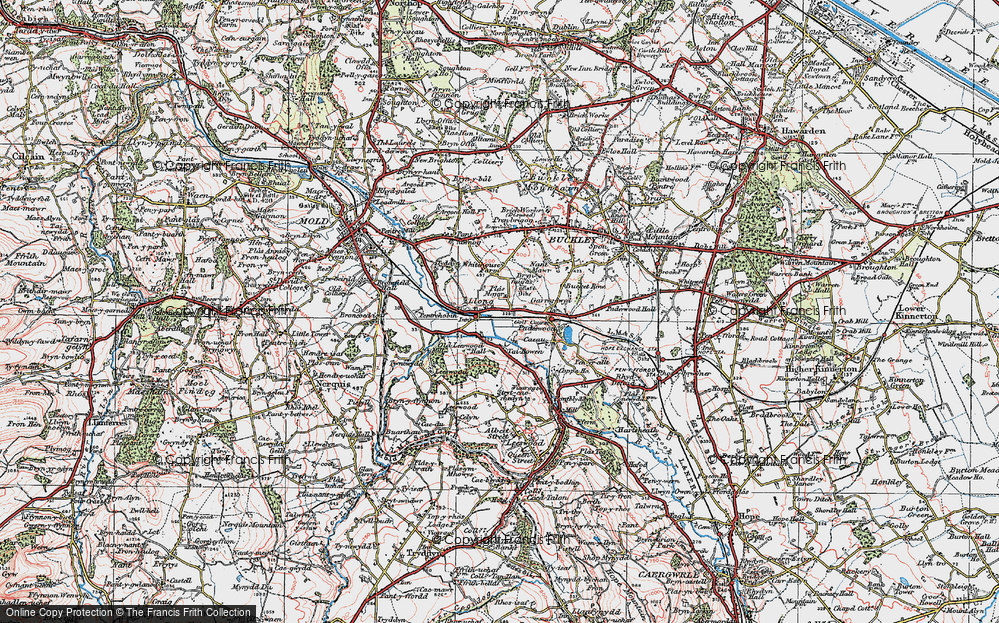 Old Map of Historic Map covering Leeswood Old Hall in 1924
