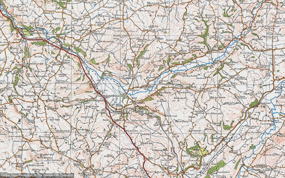 Old Map of Historic Map covering Abermeurig in 1923