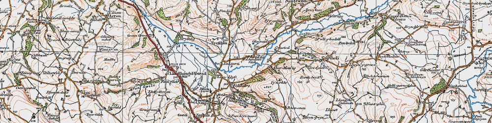 Old map of Abermeurig in 1923