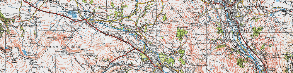 Old map of Llwydcoed in 1923