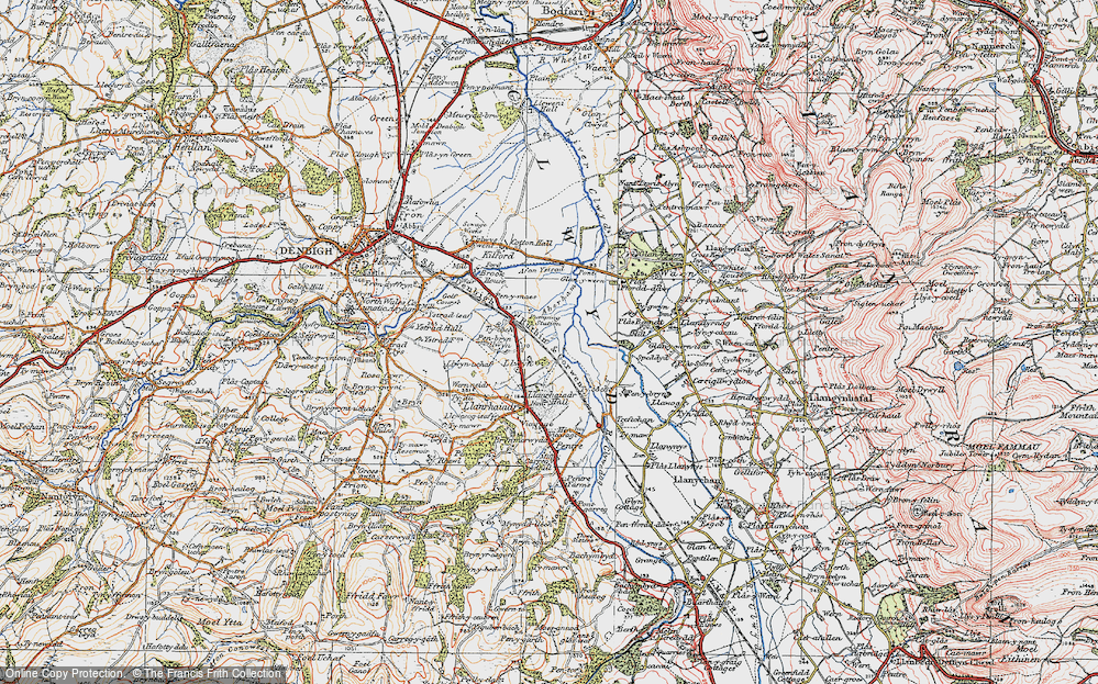 Old Map of Historic Map covering Aberham in 1922