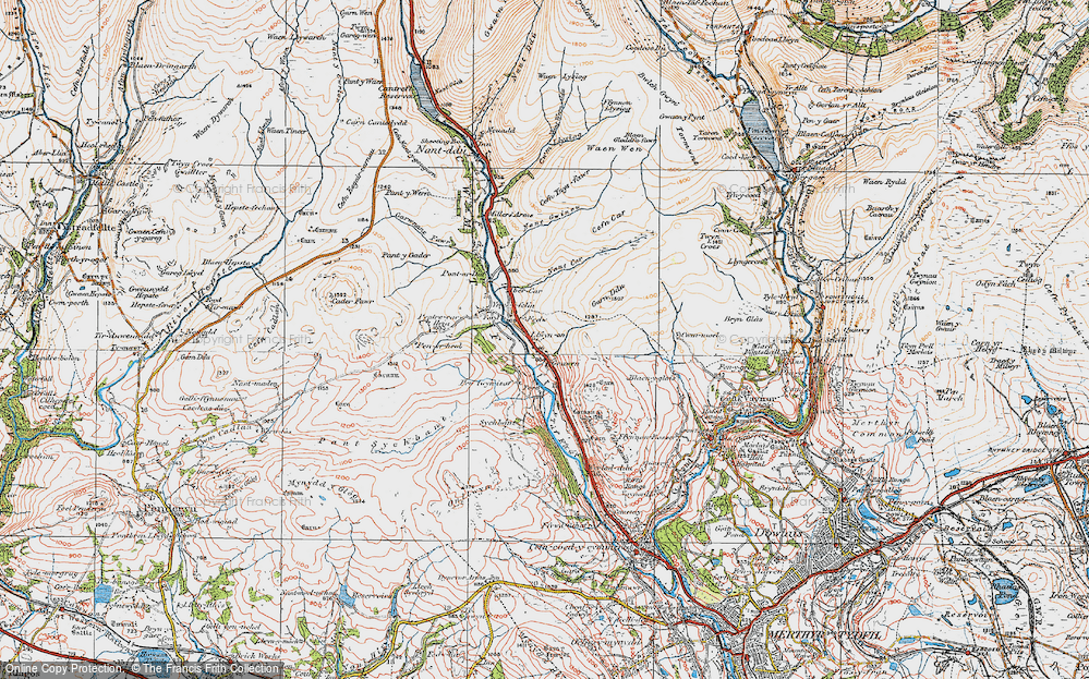 Old Map of Historic Map covering Afon Taf Fawr in 1923