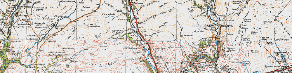 Old map of Afon Taf Fawr in 1923