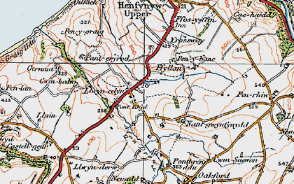 Old map of Afon Drywi in 1923