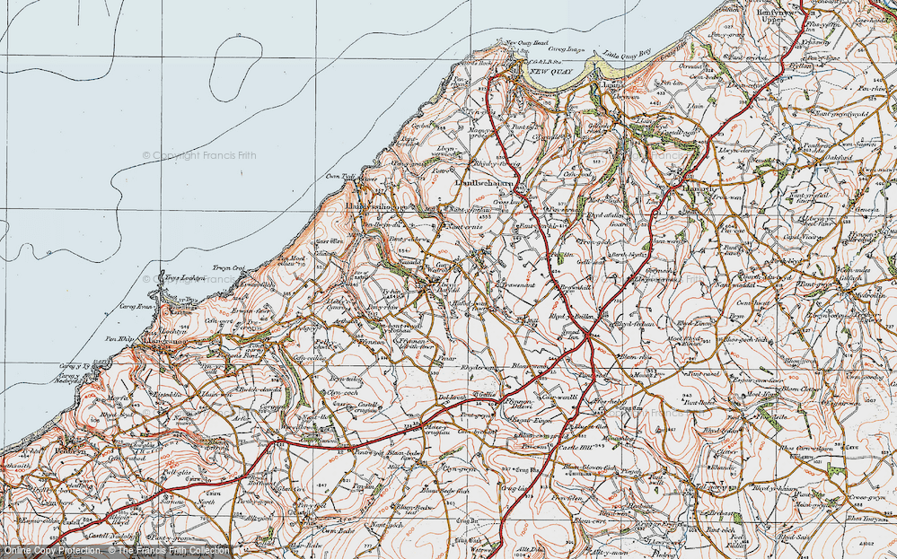 Old Map of Historic Map covering Afon Ffynnon-Ddewi in 1923