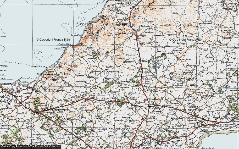 Old Map of Historic Map covering Ysgubor Plas in 1922