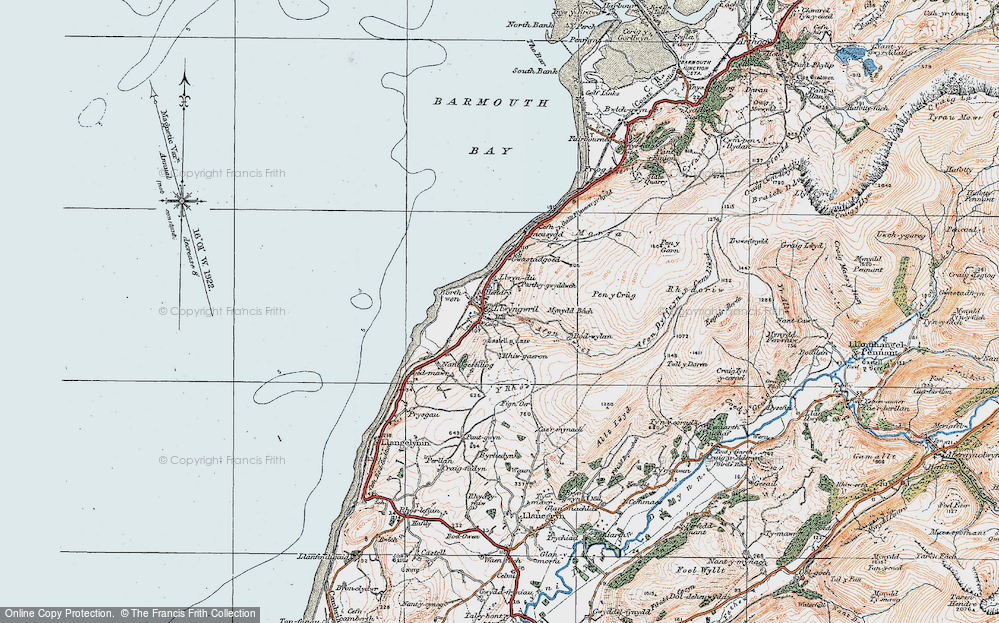 Old Map of Historic Map covering Afon Gwril in 1922