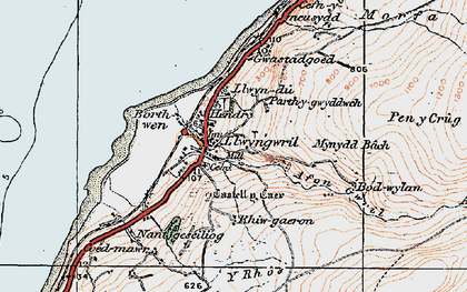 Old map of Y Rhos in 1922