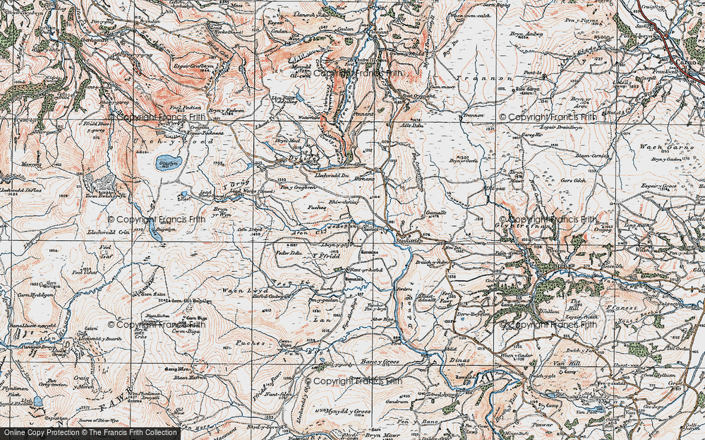 Old Map of Historic Map covering Afon Llwyd in 1921