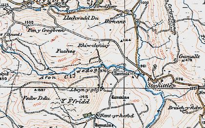 Old map of Afon Llwyd in 1921