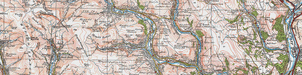 Old map of Llwynypia in 1922