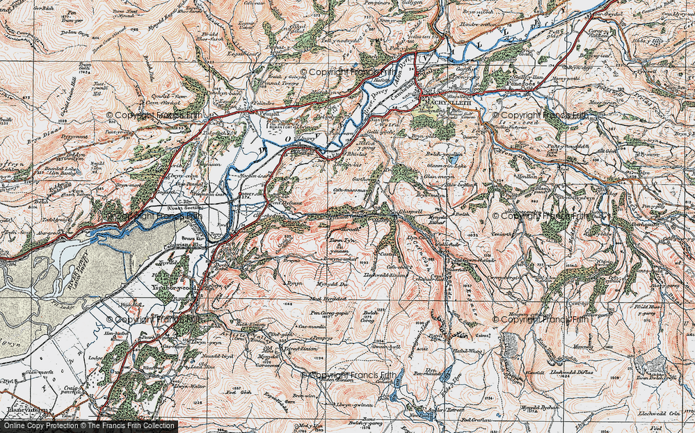 Old Map of Llyfnant Valley, 1921 in 1921