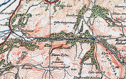Old map of Llyfnant Valley in 1921