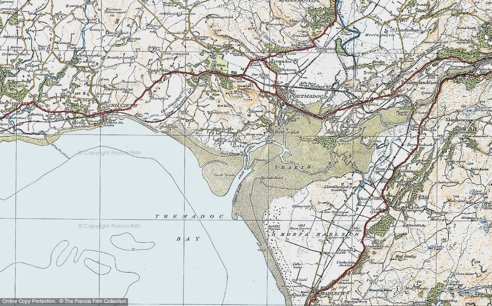 Old Map of Historic Map covering Ynys Cyngar in 1922