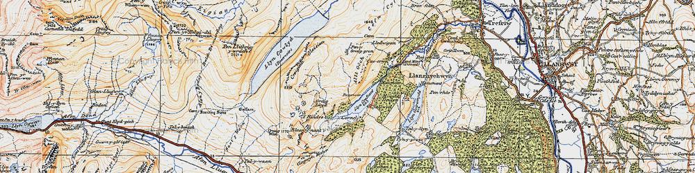 Old map of Llyn Crafnant in 1922